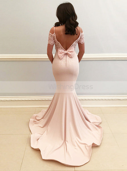 Charming Mermaid Satin Prom Dress,Evening Dress with Short Sleeves,Modern Evening Dress PD00141