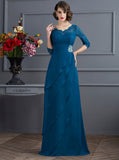 Charming Mother Dress with Sleeves,Ruffled Mother Dress,Long Chiffon Mother Dress,MD00058