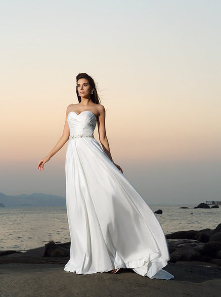 Chiffon Beach Wedding Dresses,Romantic Bridal Dress,Sweetheart Wedding Dress,WD00309