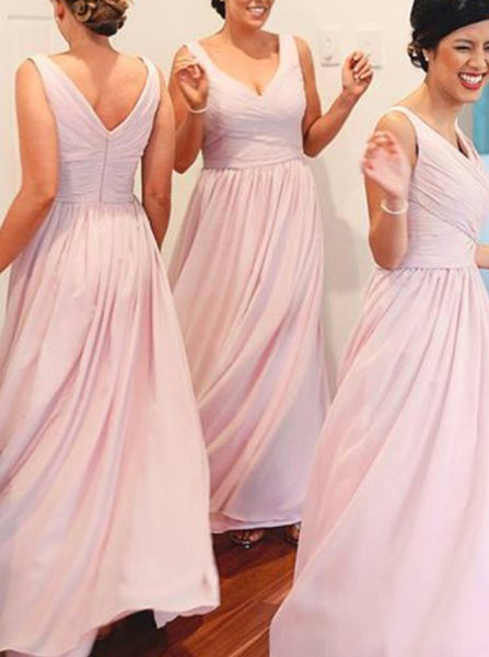 Chiffon Bridesmaid Dress,V Neck Bridesmaid Dress,Elegant Long Bridesmaid Dress,BD00025