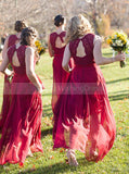 Chiffon Bridesmaid Dress,V Neck Bridesmaid Dress,Long Bridesmaid Dress,BD00024