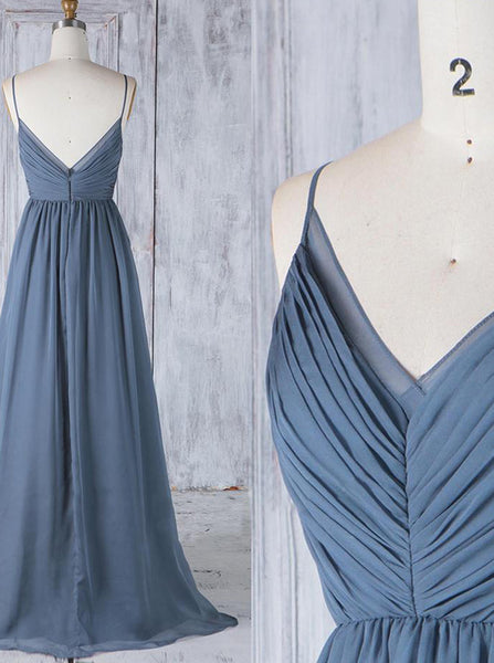 Chiffon Bridesmaid Dresses with Straps,Ruched Bridesmaid Dress,BD00359