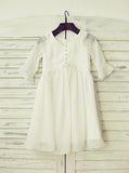 Chiffon Flower Girl Dress with Sleeves,Beach Flower Girl Dress,FD00081