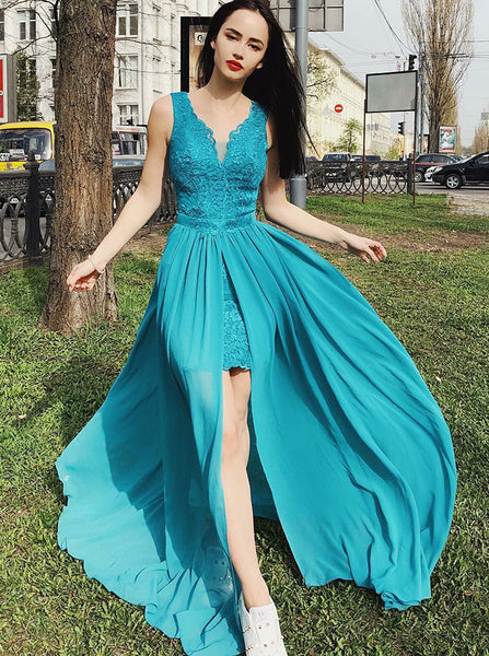 Chiffon Long Homecoming Dresses,Homecoming Dress with Slit,Modest Homecoming Dress,HC00084