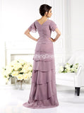 Chiffon Ruffled Mother of the Bride Dresses,Mother Dress with Short Sleeves,MD00054