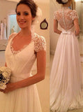 Chiffon Short Sleeves Wedding Dresses,Beach Bridal Dress with Illusion Lace Back,WD00313