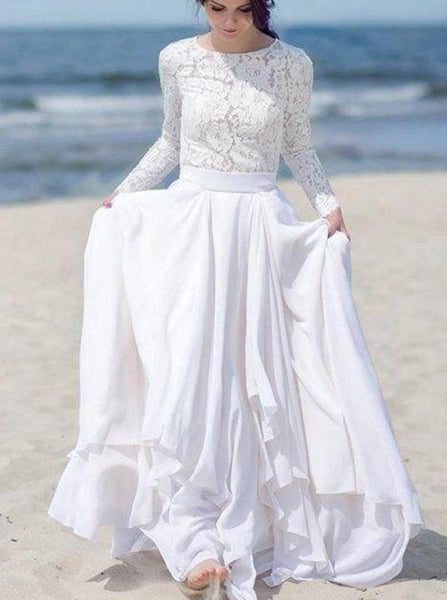 Beach Wedding Dresses,Long Sleeves Wedding Dress,Boho Wedding Dress,WD00237