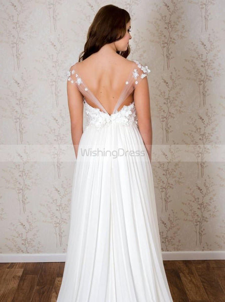 Chiffon Wedding Dresses,Beach Wedding Dress,Off Shoulder Bridal Dress,Floral Bridal Dress,WD00106