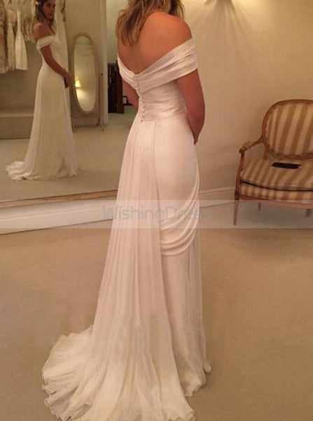 Chiffon Wedding Dresses,Beach Wedding Dress,Off the Shoulder Bridal Dress,WD00164
