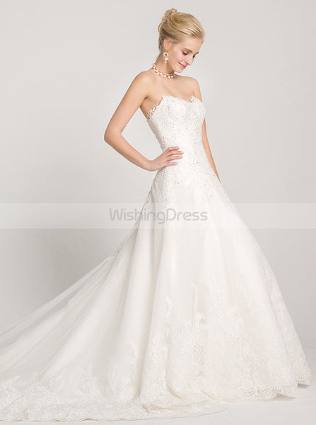 Classic Wedding Dresses,Aline Wedding Dress,White Wedding Dress,Strapless Wedding Gown,WD00016