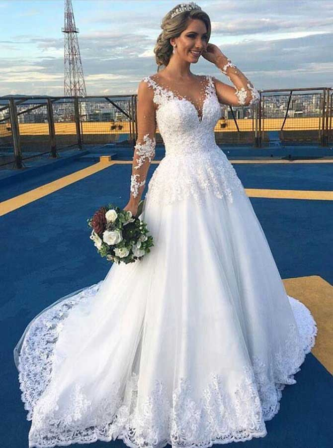 Classic Wedding Dresses With Sleeves Illusion Back Wedding Gown
