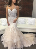 Colored Wedding Dress,Fit and Flare Wedding Dresses,Ruffled Wedding Dress,WD00189
