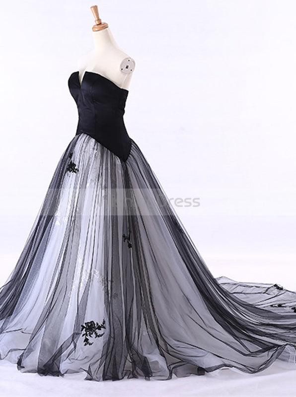 Wedding Dresses With Color.Colored Wedding Dresses Black Wedding Dress Strapless Wedding Gown Tulle Wedding Gown Wd00115