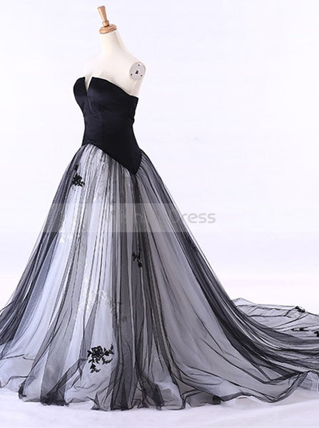 Colored Wedding Dresses,Black Wedding Dress,Strapless Wedding Gown,Tulle Wedding Gown,WD00115