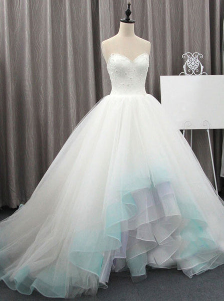 Colored Wedding Dresses,High Low Wedding Dress,Tulle Wedding Dress,Unique Wedding Dress,WD00160