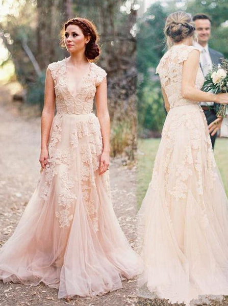 Colored Wedding Dresses,Lace Wedding Dress,Vintage Wedding Dress,Long Wedding Dress,WD00221