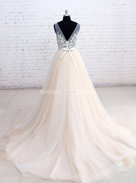 Colored Wedding Dresses,Tulle Wedding Dress,Princess Wedding Dress,WD00173