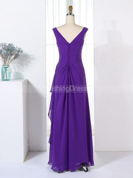 Column Bridesmaid Dresses,Purple Bridesmaid Dress,Draped Bridesmaid Dress,BD00264