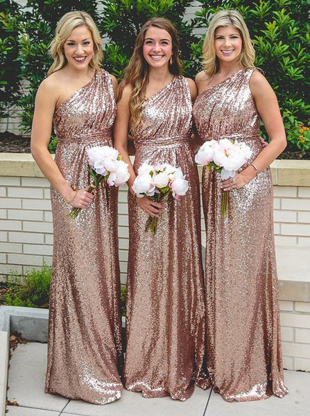Column One Shoulder Bridesmaid Dress,Sequined Bridesmaid Dress,Long Bridesmaid Dress,BD00032