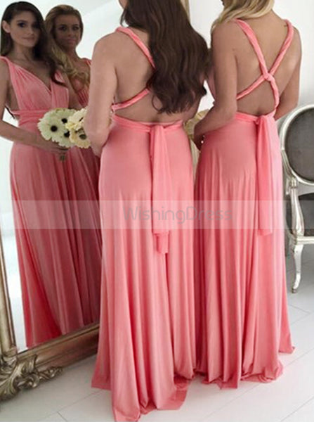 Coral Bridesmaid Dress,Chiffon Long Bridesmaid Dress,Bridesmaid Dress with Straps,BD00026