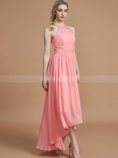Coral Bridesmaid Dresses,High Low Bridesmaid Dress,Simple Bridesmaid Dress,BD00232