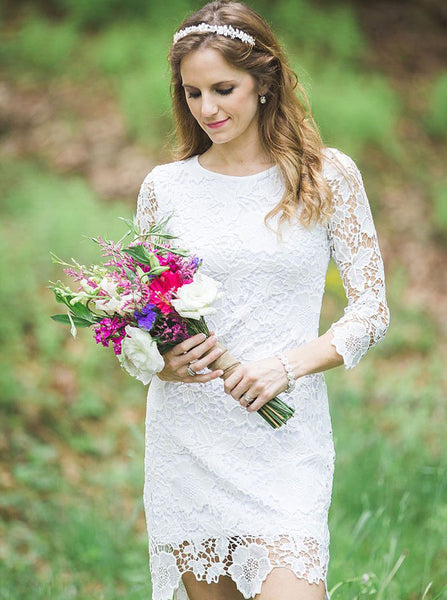 Country Short Wedding Dresses,Lace Wedding Dress with Sleeves,WD00343