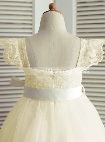 Cute Flower Girl Dresses,Ivory Flower Girl Dress,Flower Girl Dress with Belt,FD00013