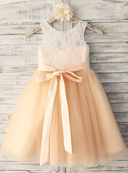Cute Flower Girl Dresses,Tea Length Flower Girl Dress,Girl Party Dress,FD00080