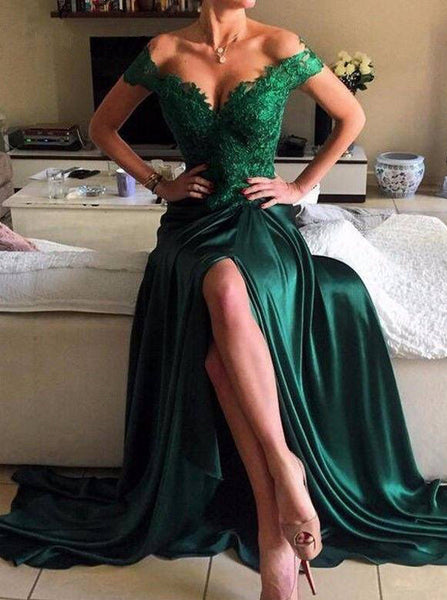 Dark Green Elastic Satin Prom Dress,Off the Shoulder Evening Dress with Slit,PD00174