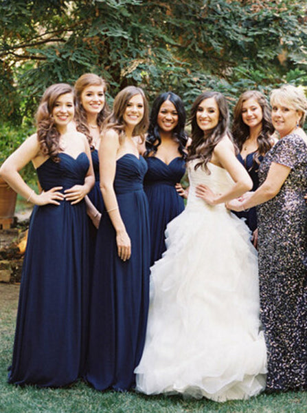 Dark Navy Bridesmaid Dress,Chiffon Bridesmaid Dress,Long Bridesmaid Dress,BD00156