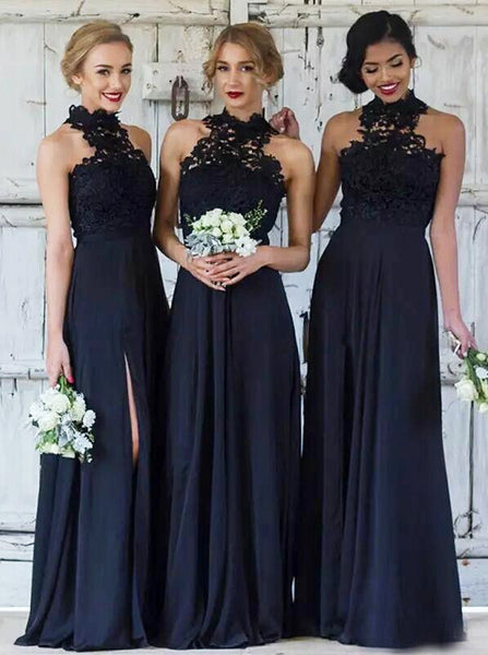Dark Navy Bridesmaid Dress,Chiffon Bridesmaid Dress with Slit,High Neck Bridesmaid Dress,BD00103