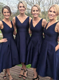 Dark Navy Bridesmaid Dress,High Low bridesmaid Dress,Satin Bridesmaid Dress,Party Dress,PD00003