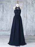 Dark Navy Bridesmaid Dresses,Lace Chiffon Elegant Bridesmaid Dress,BD00337
