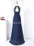 Dark Navy Bridesmaid Dresses,Mermaid Bridesmaid Dress,High Neck Bridesmaid Dress,BD00277
