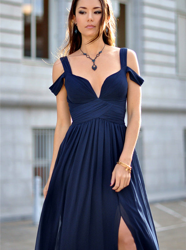Dark Navy Chiffon Prom Dress,Long Summer Bridesmaid Dress,Plus Size  Bridesmaid Dress PD00011