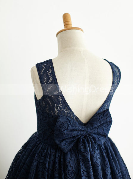Dark Navy Flower Girl Dress,Lace Flower Girl Dress,Flower Girl Dress with Bow,FD00017