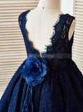 Dark Navy Flower Girl Dress,Lace Girl Party Dress,Tea Length Flower Girl Dress,FD00101