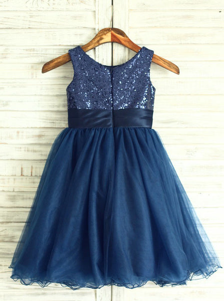 Dark Navy Flower Girl Dress,Short Flower Girl Dress,Sequined Flower Girl Dress,FD00004