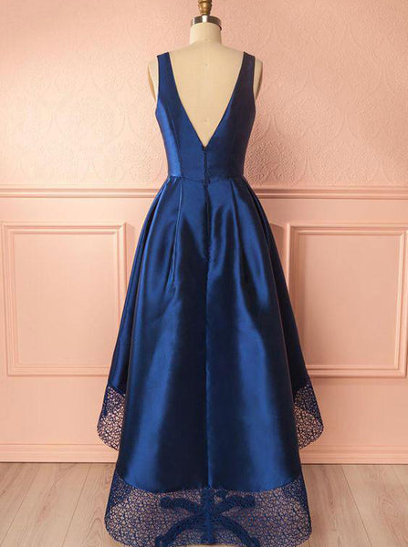 Dark Navy Homecoming Dress,High Low Prom Dress,V Neck Prom Dress,Lace Satin Prom Dress PD00200