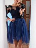 Dark Navy Homecoming Dress,Knee Length Homecoming Dress,Homecoming Dress with Sleeves,HC00072