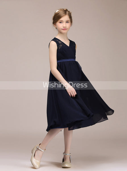 Dark Navy Junior Bridesmaid Dresses,Chiffon Tea Length Junior Bridesmaid Dress,JB00037