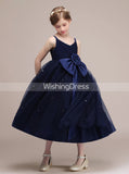 Dark Navy Junior Bridesmaid Dresses,Tea Length Junior Bridesmaid Dress,JB00011
