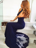 Dark Navy Mermaid Evening Dress with Train,Chiffon Lace Prom Dress,Halter Prom Dress PD00124