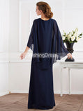 Dark Navy Mother of the Bride Dresses,Chiffon Long Mother Dress,Chic Mother Dresses,MD00052