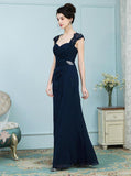 Dark Navy Mother of the Bride Dresses,Elegant Mother Dress,Long Wedding Guest Dress,MD00017