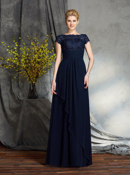 Dark Navy Mother of the Bride Dresses,Empire Mother Dress,Mother Dress with Sleeves,MD00035