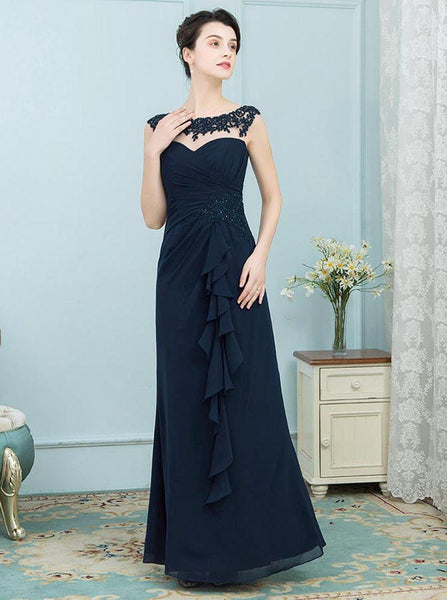 Dark Navy Mother of the Bride Dresses,Long Mother Dress,Youthful Mother of the Bride Dress,MD00013