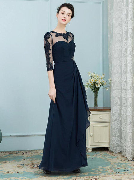 Dark Navy Mother of the Bride Dresses,Mother Dress with Sleeves,Elegant Mother Dress,MD00022