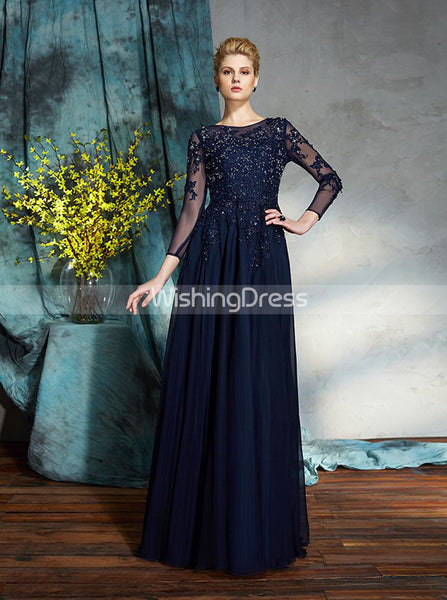 Dark Navy Mother of the Bride Dresses,Mother Dress with Sleeves,MD00064