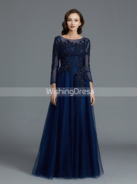 Dark Navy Mother of the Bride Dresses,Mother Dress with Sleeves,Tulle Mother Dress,MD00028
